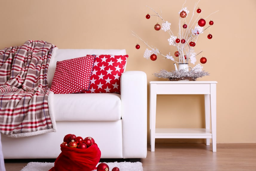 Holiday-themed furnishings in a living room area.