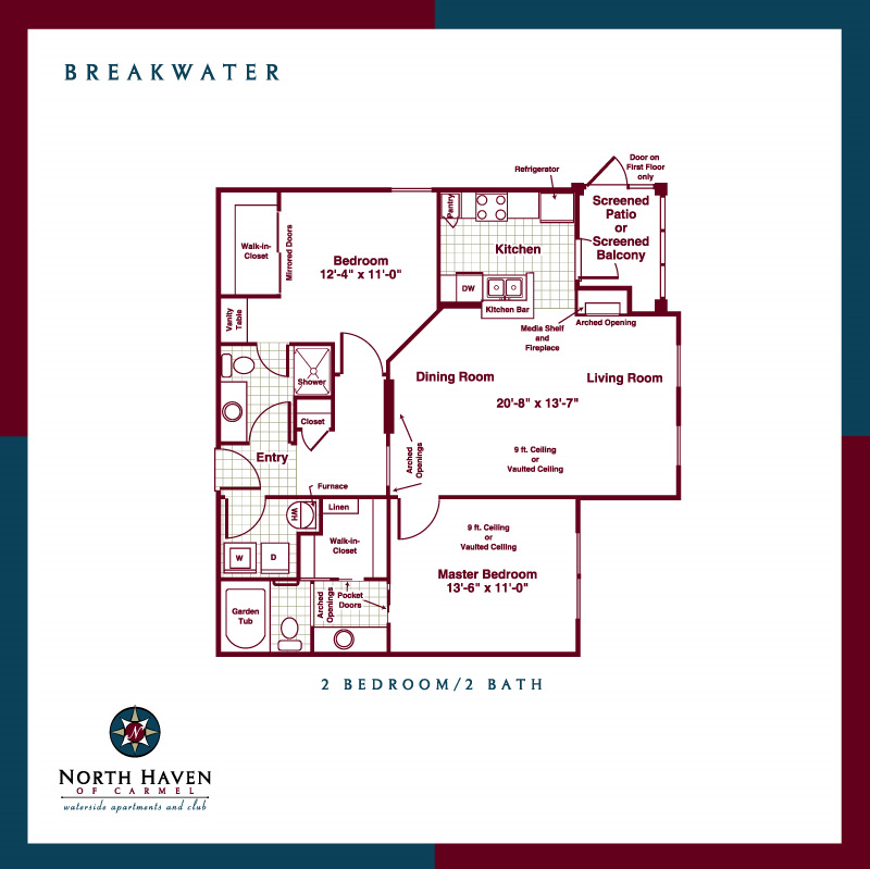 Breakwater Apartments: Breakwater 2 Bedroom Floor Plan